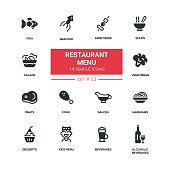 Restaurant menu - line design silhouette icons set
