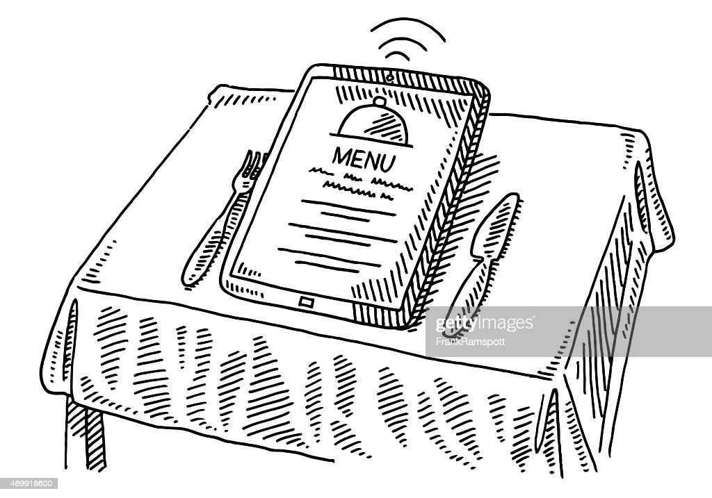 Restaurant Menu Order Tablet Pc Table Drawing Vector Art