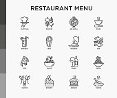 Restaurant menu thin line icons set: starters, chef dish, BBQ, soup, beef, steak, beverage, fish, salad, pizza, wine, seafood, burger. Modern vector illustration.