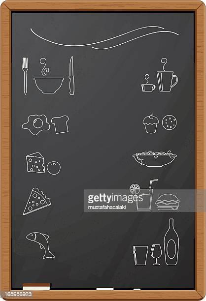 ilustraciones, imágenes clip art, dibujos animados e iconos de stock de iconos de menú de restaurante con alimentos - industria alimentaria