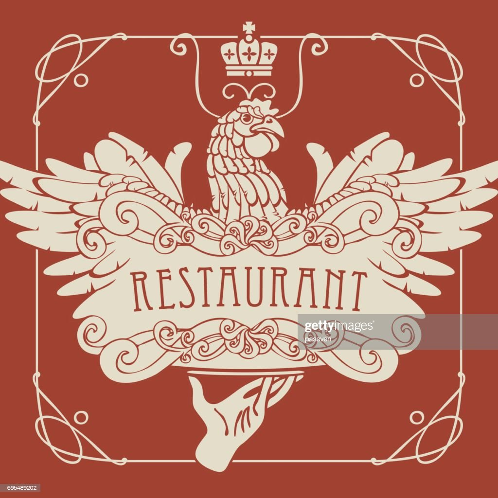 restaurant menu with the hand, tray and chicken