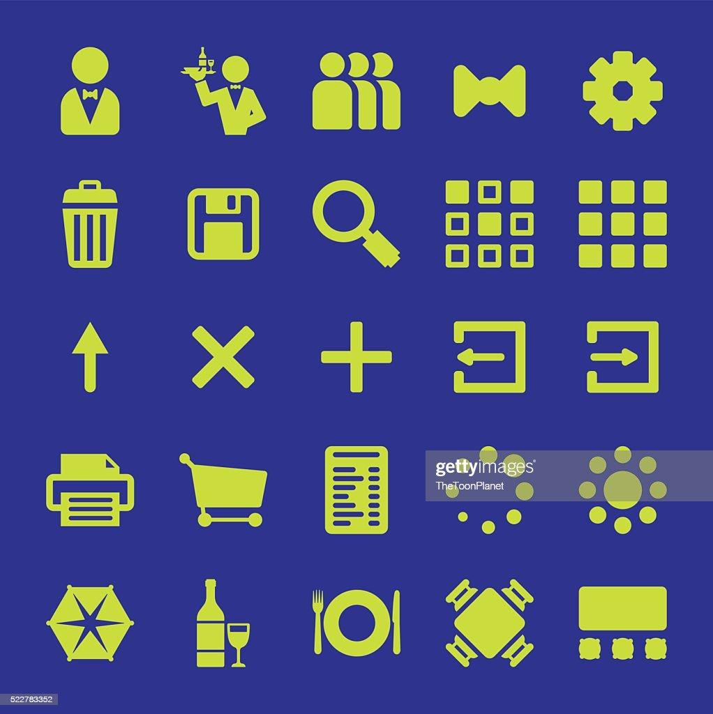 Restaurant mobile app vector icon design set