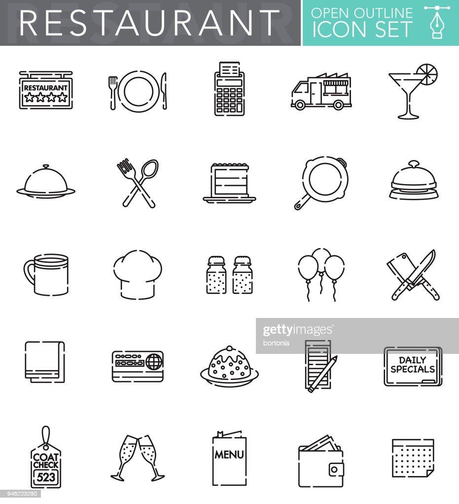 Restaurant Open Outline Icon Set