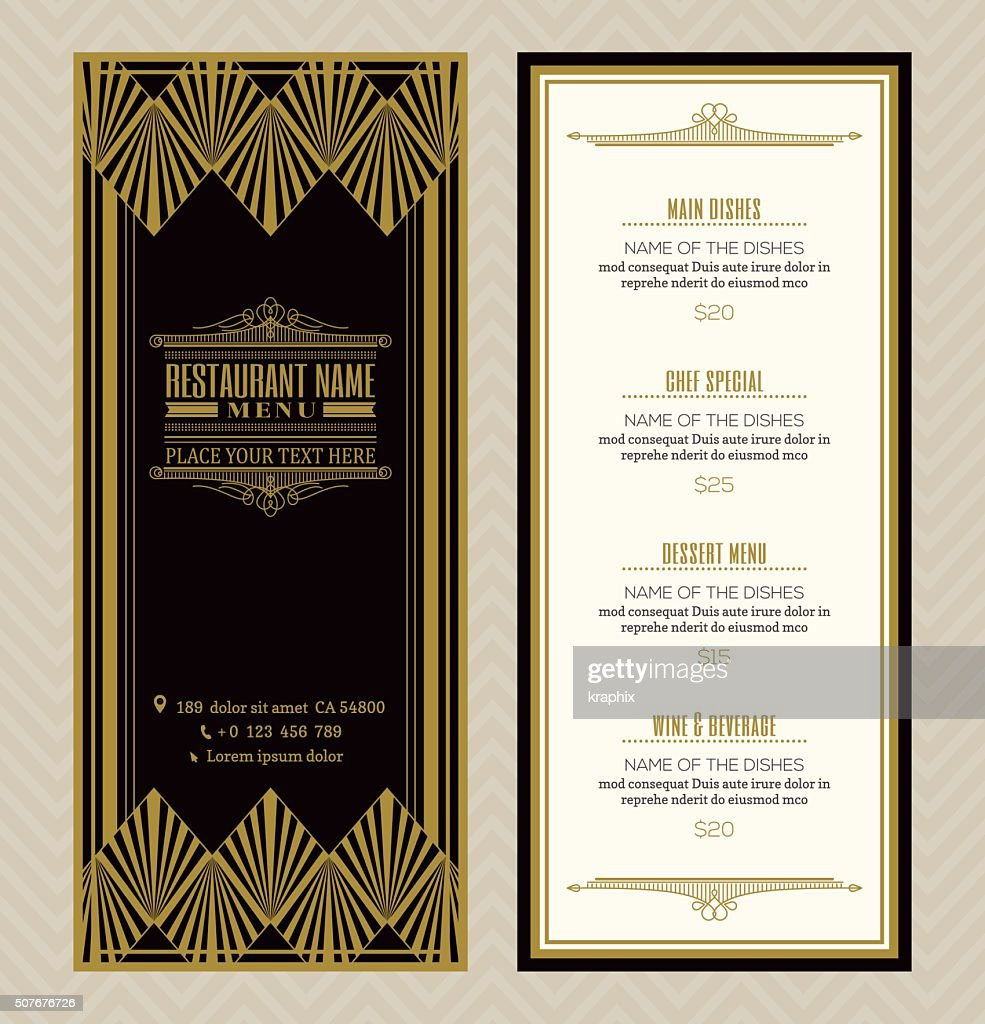 Restaurant or cafe menu design template with vintage frame style