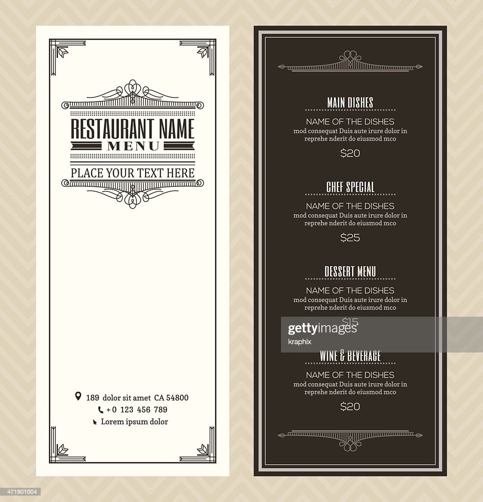 Restaurant or cafe menu design template with vintage retro frame
