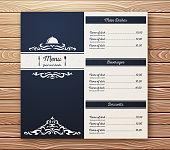Restaurant or cafe menu vector template retro style