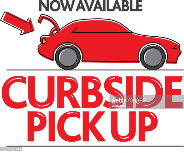 restaurant or small business curbside pick up and delivery signage - curbside pickup stock illustrations