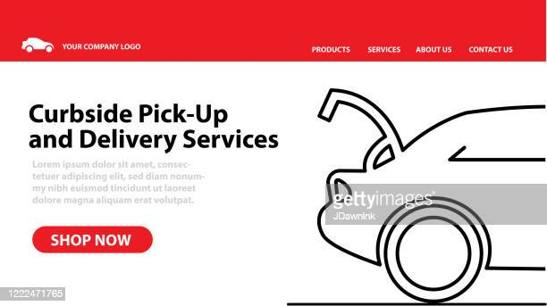 restaurant or small business curbside pick up and delivery web banner advertisement - curbside pickup stock illustrations