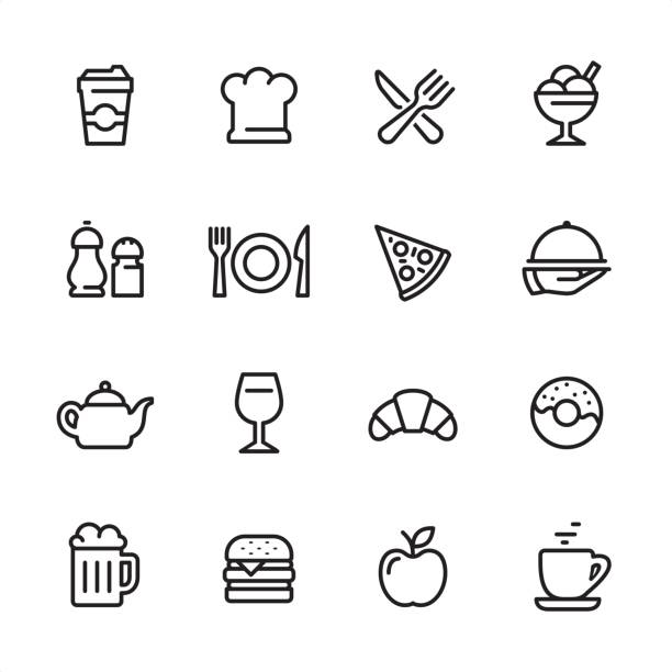restaurant - outline icon set - frozen food stock illustrations