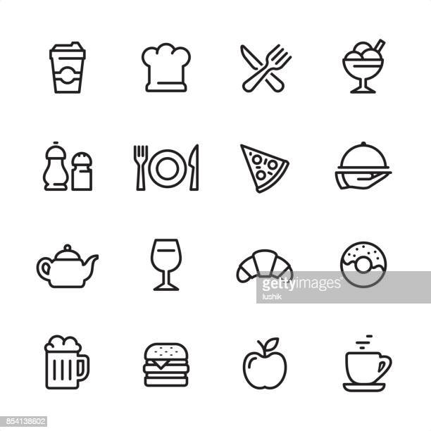 restaurant - outline icon set - donut stock illustrations, clip art, cartoons, & icons