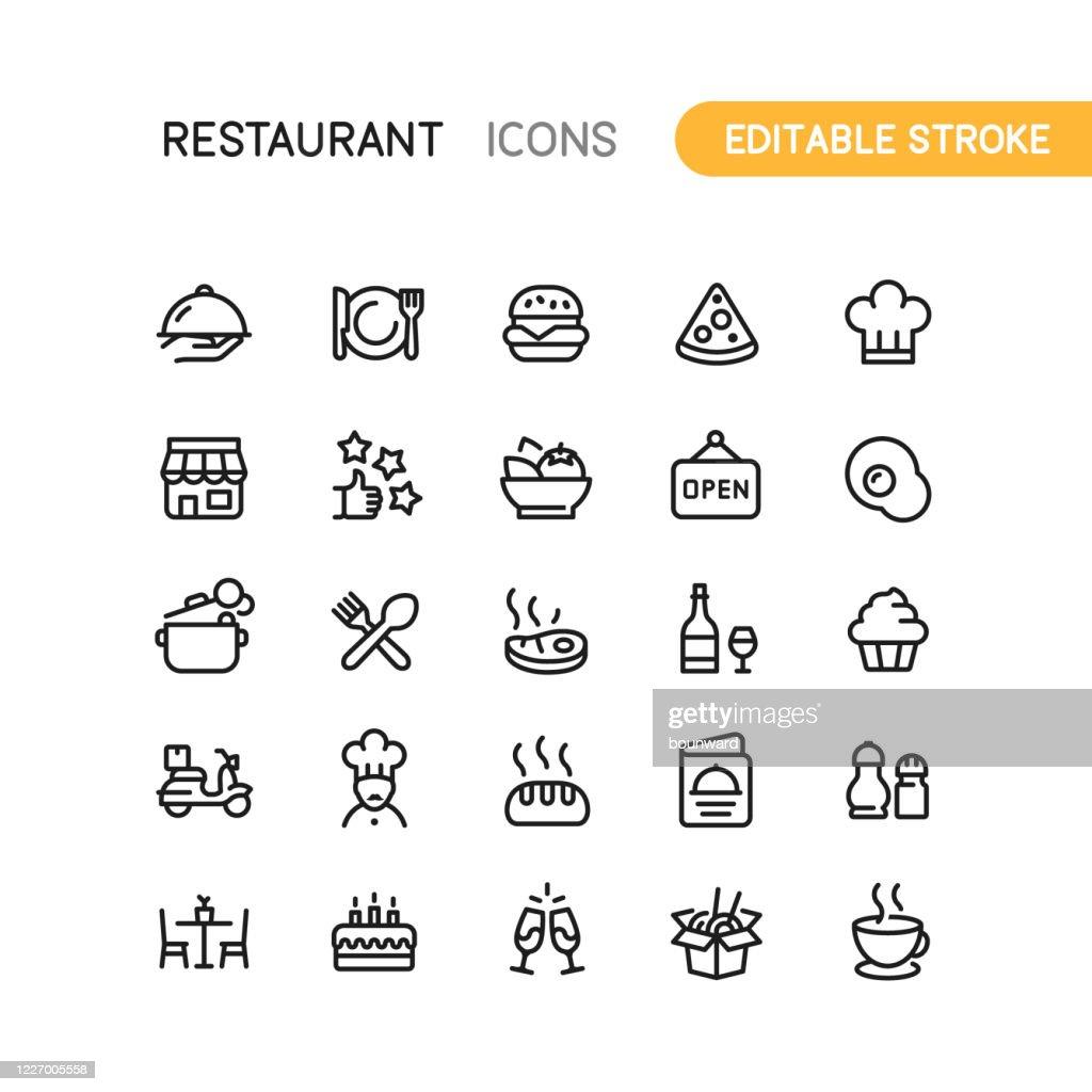Restaurant Outline Icons Editable Stroke : Illustration