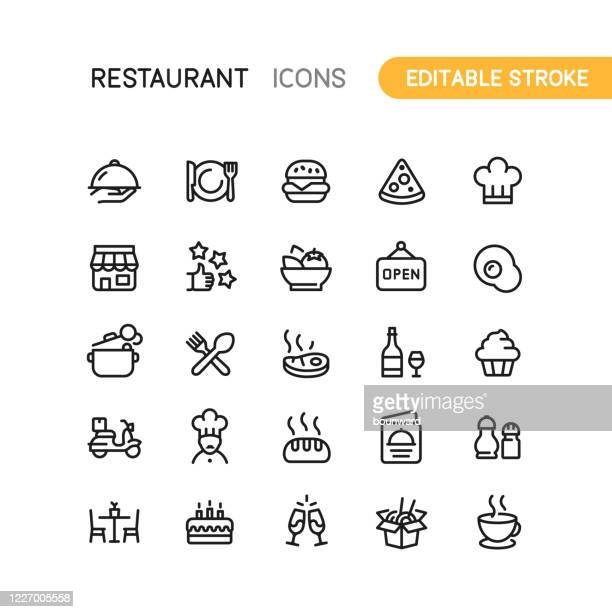 stockillustraties, clipart, cartoons en iconen met restaurant outline icons editable stroke - dranken en maaltijden