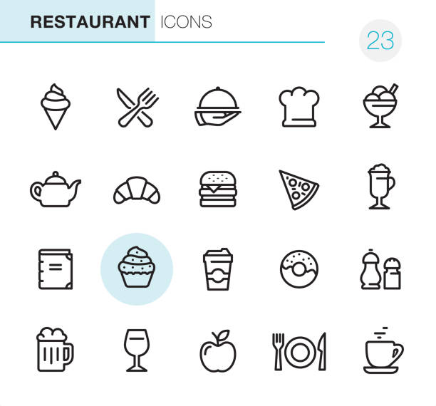 restaurant - pixel perfect icons - frozen food stock illustrations