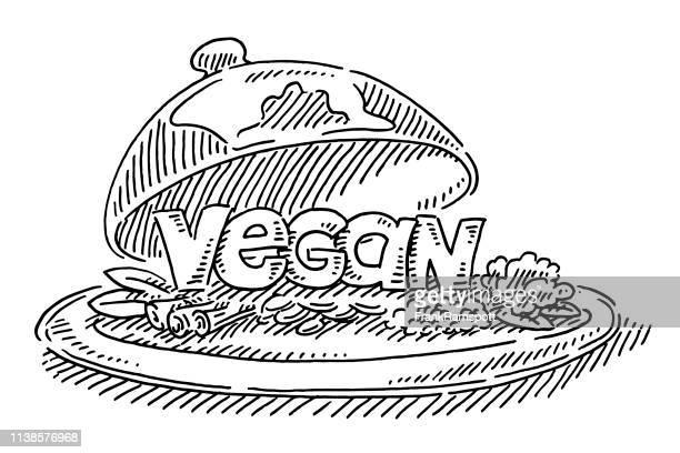 Restaurant Plate Vegan Food Text Zeichnung