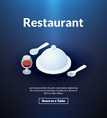 Restaurant poster of isometric color design