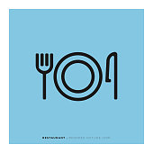 Restaurant Rounded Line Icon