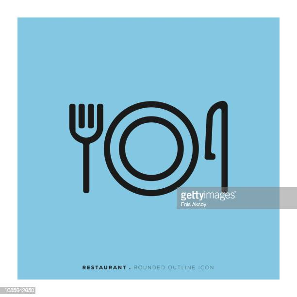 restaurant rounded line icon - gourmet food stock illustrations, clip art, cartoons, & icons