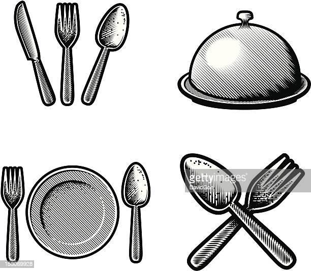 restaurant schabekarton symbole - federzeichnung stock-grafiken, -clipart, -cartoons und -symbole