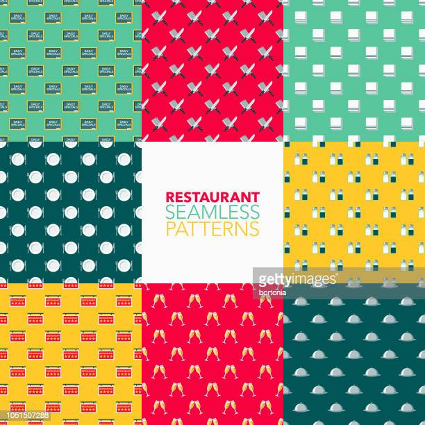 restaurant seamless pattern set - washing dishes stock illustrations, clip art, cartoons, & icons