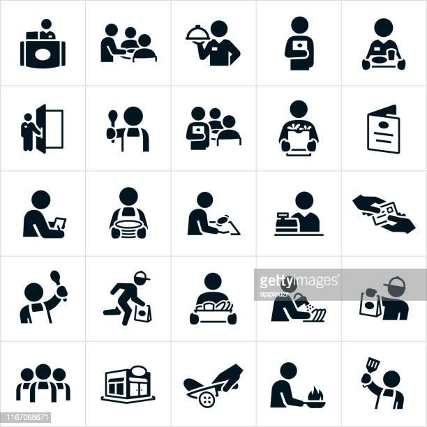 restaurant staff icons - courier stock illustrations