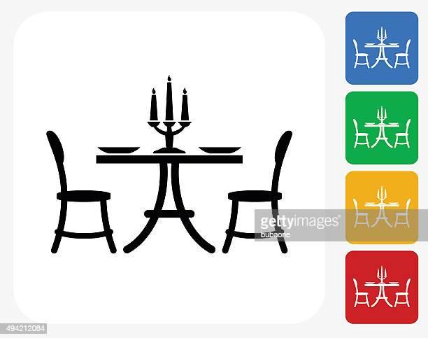 Restaurant Table Icon Flat Graphic Design