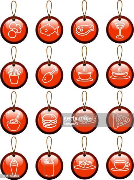 restaurant tag set - macaroni stock illustrations, clip art, cartoons, & icons