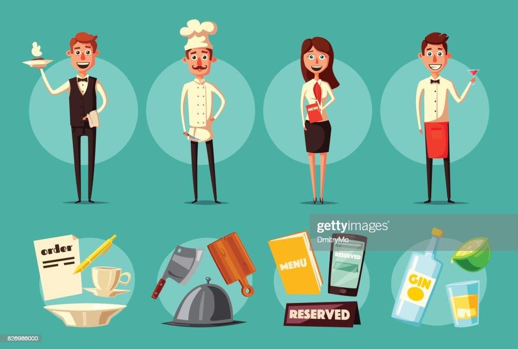 Restaurant team. Cartoon vector illustration.