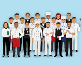 Restaurant team characters in uniform. Group of catering service people chef cook waiters and barman. Welcoming banner.