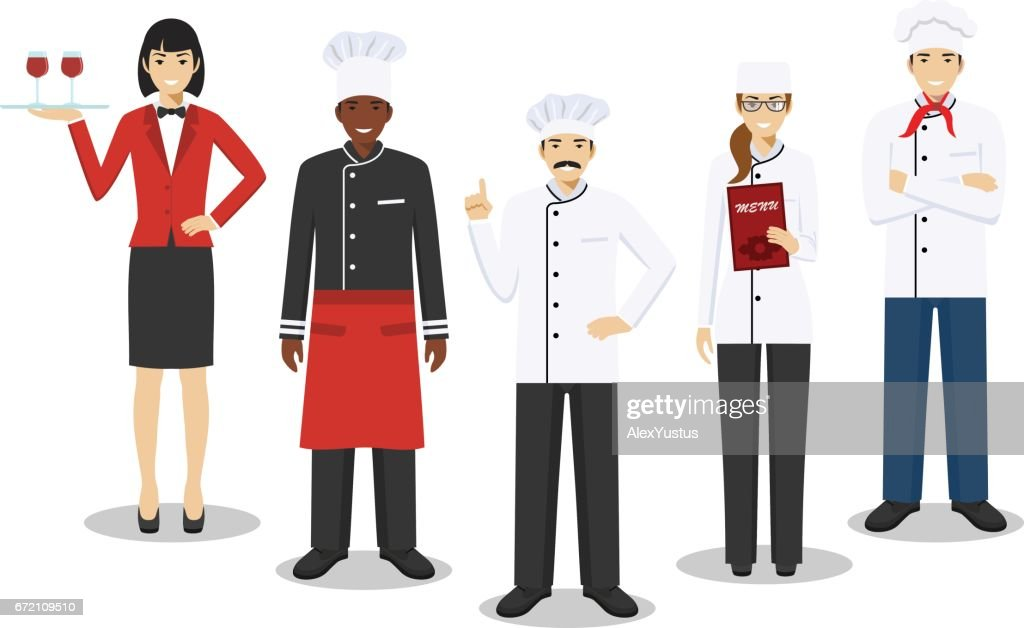 Restaurant team concept. Group of people characters: head chef, cooks, sommelier and waitress in different uniform and positions in flat style isolated on white background. Vector illustration