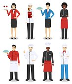 Restaurant team concept. Group of people characters: head chef, cooks, sommelier and waitress in different uniform and positions in flat style isolated on white background. Vector illustration.