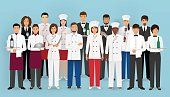 Restaurant team concept in uniform. Group of catering service characters: chef, cook, waiters and barman.