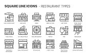 Restaurant types related, square line vector icon set