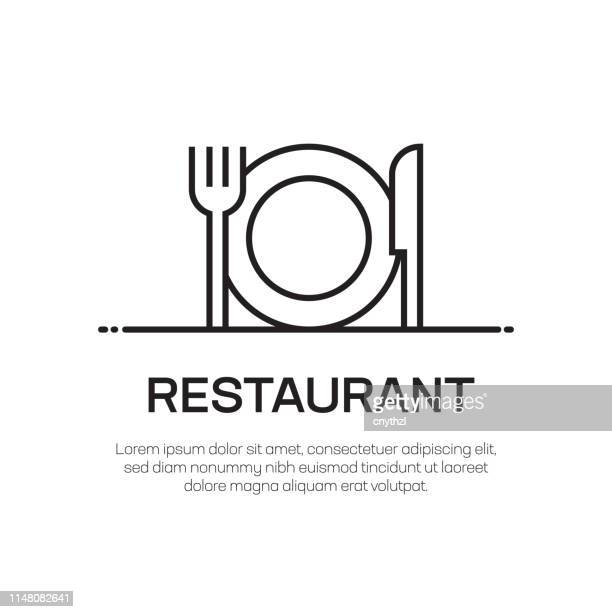 restaurant vector line icon - simple thin line icon, premium quality design element - catering building stock illustrations