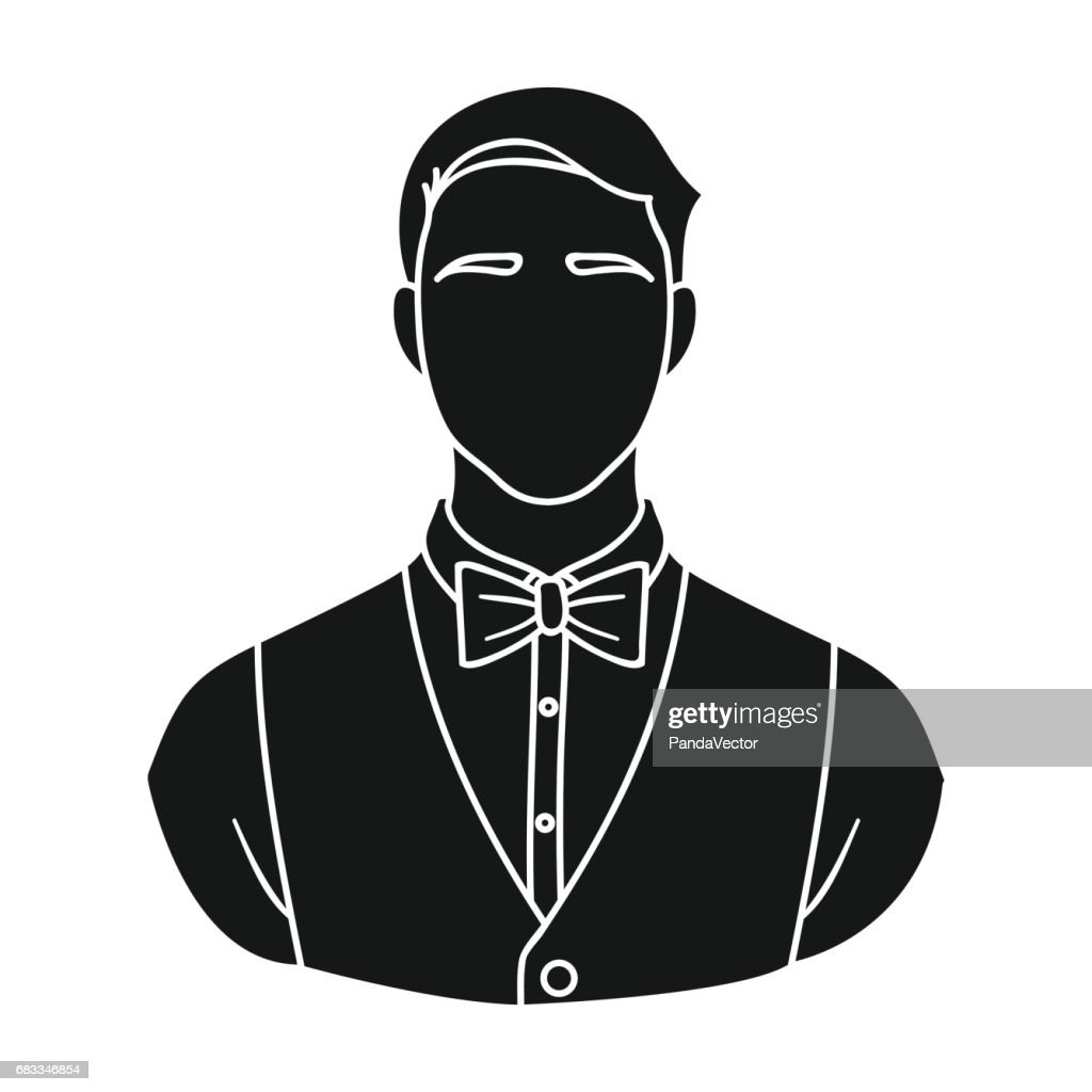 Restaurant Waiter With A Bow Tie Icon In Black Style Isolated On