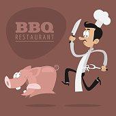 BBQ Restaurants concept chef runs pig