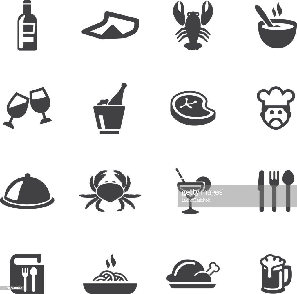 Restaurants Silhouette Icons : stock illustration