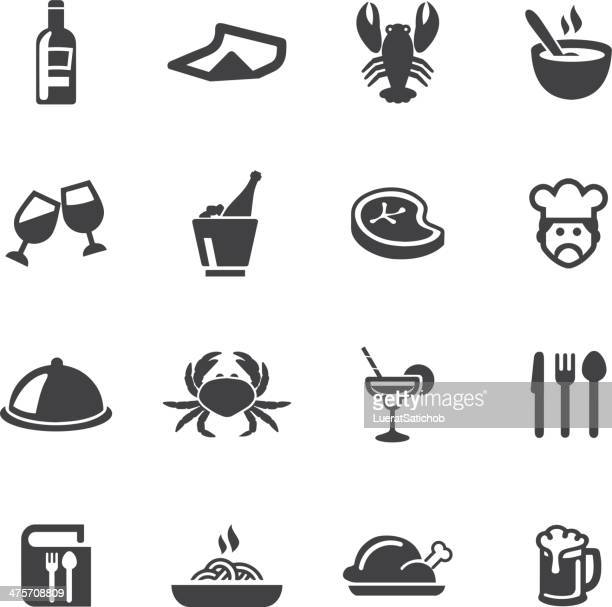 stockillustraties, clipart, cartoons en iconen met restaurants silhouette icons - food and drink