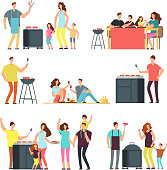 Resting people on bbq picnic. Active family and kids playing outdoor. Cartoon vector characters isolated