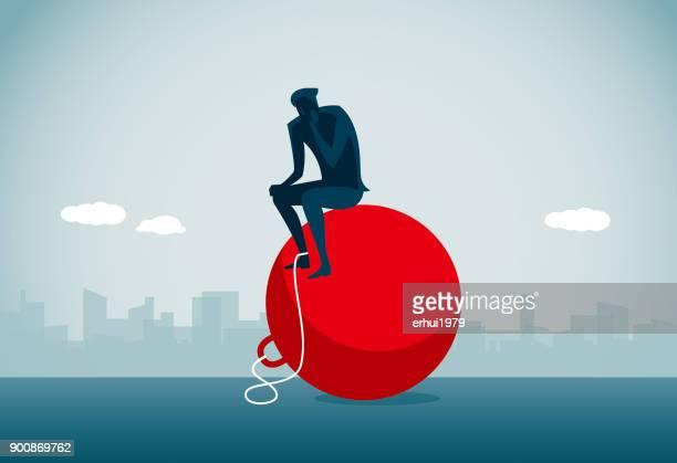 ilustraciones, imágenes clip art, dibujos animados e iconos de stock de de restricción - bola de hierro y cadena