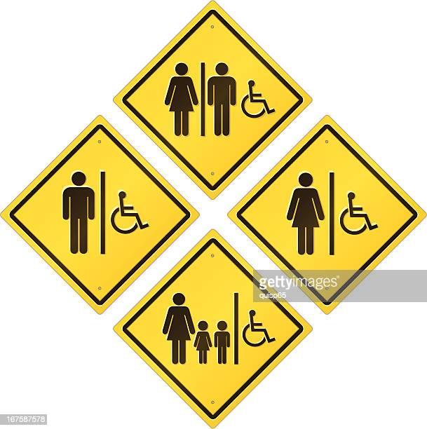 Señal de carretera-Baño accesible para personas con discapacidades