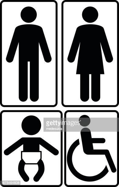 restroom signs - toilet sign stock illustrations, clip art, cartoons, & icons