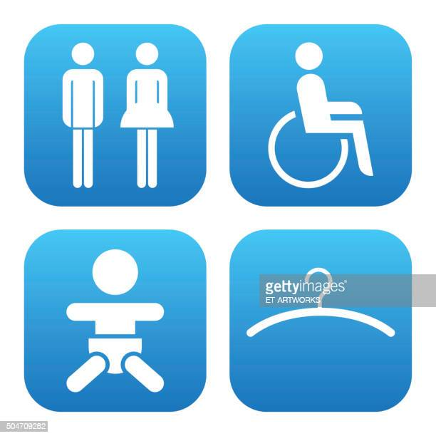 restroom toilet icons. vector - disability stock illustrations, clip art, cartoons, & icons