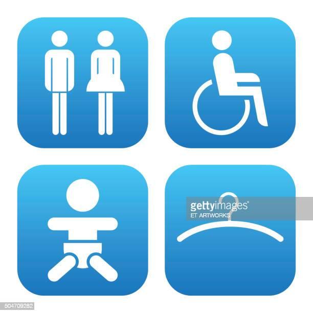 ilustrações, clipart, desenhos animados e ícones de banheiro sanitário ícones. vetor - bathroom