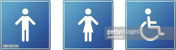 Restroom, toilette icons - blue