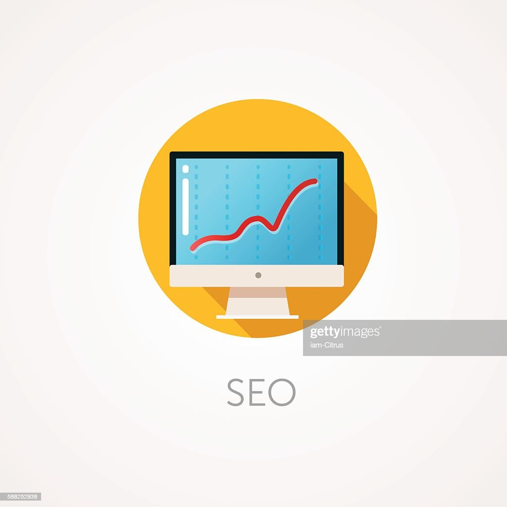 SEO result Icon. Flat design style with long shadow. Monitoring,