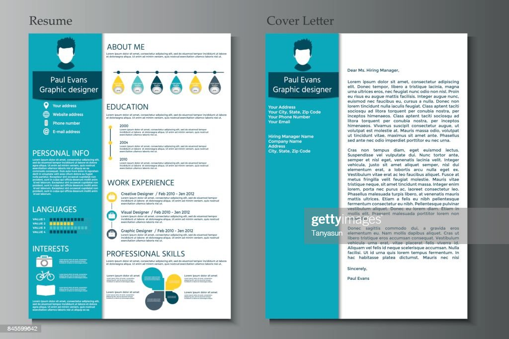 ba757cd71c49 Resume and Cover letter collection. Modern CV set with Infograp : Stock  Illustration