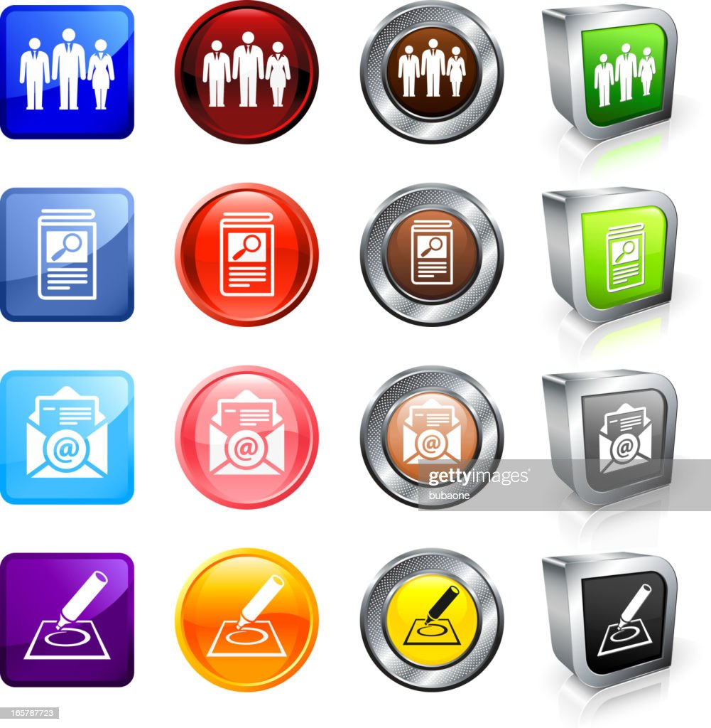 resume for employment royalty free vector button set high