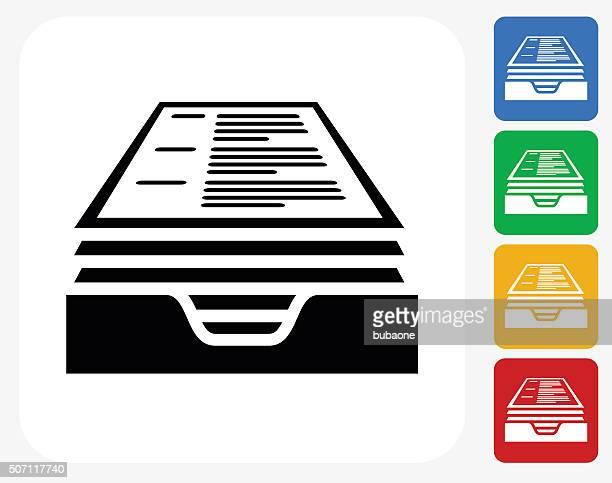 resume icon flat graphic design - inbox filing tray stock illustrations
