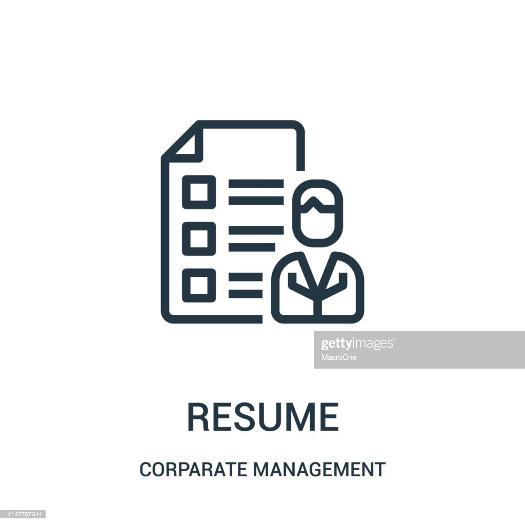 resume icon vector from corparate management collection. Thin line resume outline icon vector illustration. Linear symbol for use on web and mobile apps, logo, print media.