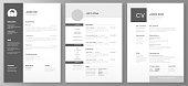 Resume template. Cv professional or designer jobs resumes. Work in best corporate vector illustration